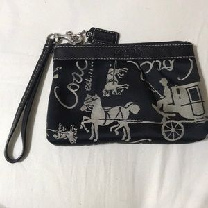 Coach Wristlet Black with Horse Carriage